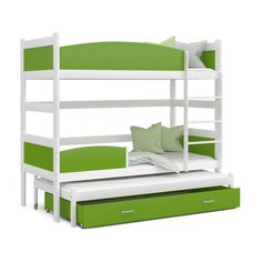 Patrová postel TWIST pro 3 osoby s úložným prostorem (Bílá) Bunk Beds, Furniture, Home Decor, Small Rooms, Bed Frame, Blue Grey, Child Bed, Pool Chairs, Mattress