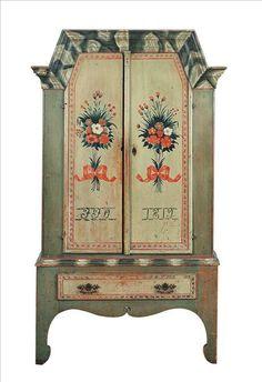 Folk art painted Swedish cabinet dated 1819.