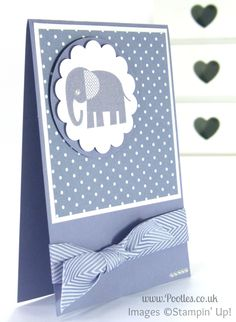 Stampin' up! UK Demonstrator Pootles - Wisteria Wonder Zoo Babies. I don't have the Zoo Babies stamp set, but I love this monochromatic layout!