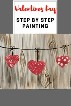 How To Paint Hearts on A String - Tracie's Acrylic Canvas Tutorials. Learn how to do this DIY painting at home!