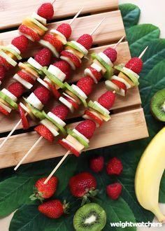 Bursting with color and flavor, fruit kebabs are a fun, easy way to get your fruit fix. Strawberries, kiwis, bananas, raspberries and mango work wonderfully and are all 0 SmartPoints value!