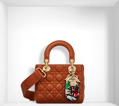 """lady dior"" bag in cinnamon-coloured lambskin, embroidered address tag - Dior"