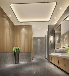 Literal: This space has a lot of interesting light choices, that give the room a very warm feeling. Bathroom Toilets, Washroom, Commercial Bathroom Ideas, Church Interior Design, Toilette Design, School Bathroom, Restroom Design, Public Bathrooms, Hospital Design