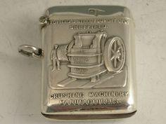 EDWARDIAN SILVER HADFIELD'S STEEL FOUNDRY ADVERTISING VESTA CASE  WALKER & HALL, SHEFFIELD 1905