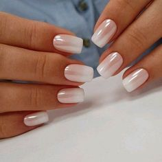 Pearl Ombré #natural #short #weddingnails
