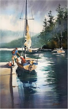 Deep Cove - Vancouver. Thomas W Schaller. Watercolor on #Fabriano Artistico. 22x15 Inches. 19 Sept. 16.