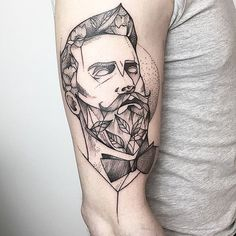 Gentleman Tattoo by María Fernández gentleman gentlemantattoo blackwork blackworktattoo linework lineworktattoo graphic graphictattoo blackink illustrative sketch MariaFernandez