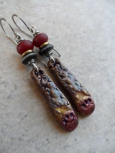 Lost in Time ... Polymer Clay, Ceramic, Antique Desert Glass Lampwork and Sterling Silver Wire-Wrapped Earthy, Boho Earrings