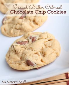 Six Sisters' Stuff: Peanut Butter Oatmeal Chocolate Chip Cookies [Desserts] Oatmeal Chocolate Chip Cookie Recipe, Peanut Butter Oatmeal, Peanut Butter Cookie Recipe, Cookie Recipes, Dessert Recipes, Chocolate Chips, Oatmeal Cookies, Chocolate Cookies, Cookie Desserts