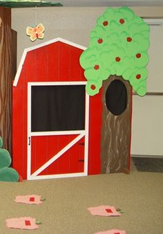 Welcome to the Awana Cubbie room at our church! This puppet theater my husband and I designed and built. We used plywood to create the main structure of the theater. It is made up of 4 pieces of pl… Farm Crafts, Crafts For Kids, Kids Church Rooms, Farm Theme, Cubbies, Sunday School, Puppets, Story Time, Plywood