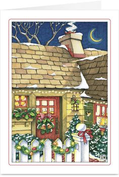 This cozy Mary Engelbreit illustration, featuring a little cottage all decorated for the holidays, is sure to invoke memories of happy Christmas Eves spent by the fireside. Just add a warm message to spread the holiday cheer.