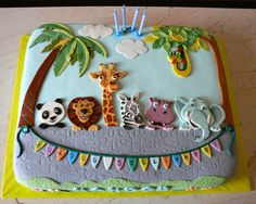 Safari cake - Fondant covered cake with painted fondant cut out figures.  Inspiration from  freubelmuisje    http://cakecentral.com/gallery/2246090/going-to-the-zoo  Animals pictures from http://www.shutterstock.com   Keyword search: safari animals