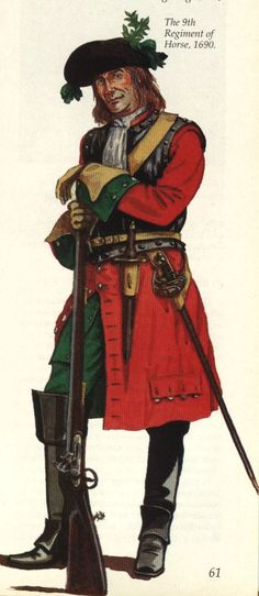 Regiment of Horse, 1690 British Army Uniform, British Uniforms, Military Art, Military History, English Army, Age Of Empires, 17th Century, Warfare, Soldiers