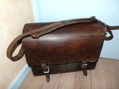 Antique brown leather electricians bag man mens power tool bag, EDF bag, French…