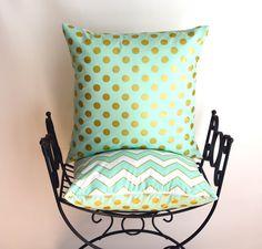 Decorative pillow, throw pillow, toss pillow, mint green pillow, mint green nursery pillows - euro sham - lumbar pillow