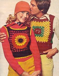 Such lovely crochet vests! Can you say RETRO? 70s Mode, Retro Mode, Fashion Mode, 70s Fashion, Vintage Fashion, Korean Fashion, Classy Fashion, Color Fashion, Petite Fashion