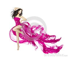 Woman dancing in fluttering dress, fashion model dancer with waving fabric, isolated white background