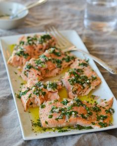 Slow-Roasted Salmon with French Herb Salsa.roast salmon on a bed of dill Fish Dishes, Seafood Dishes, Fish And Seafood, Seafood Recipes, Main Dishes, Cooking Recipes, Healthy Recipes, Seafood Platter, Kitchen Recipes