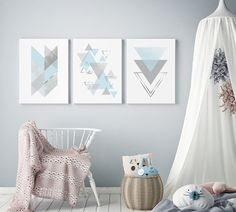 Triangle cluster canvas set of 3 canvas prints. This set of 3 geometric canvas prints will create a beautiful gallery wall decor in any home. It features geometric elements in choice of colors like blush pink, baby blue and yellow with rose gold or silver elements (NOT a foil print). Beautiful triptych for modern walls of any space like office, bedroom, living room, nursery etc. inspired by minimal Scandinavian design. Chic and modern housewarming gift. Elevate your space by creating a…