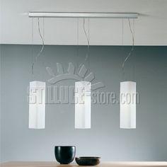 De Mayo Carre' S3GL SospensionI Grandi Diffusore in vetro bianco satinato, montatura in metallo cromo satinato.