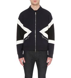 NEIL BARRETT Panelled jersey bomber jacket with zip pockets