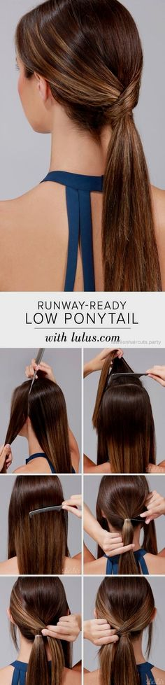 10 Easy Ponytail Hairstyles: Long Hair Style Ideas 2016 – 2017 Super-Simple Low Ponytail Hairstyle Tutorial http://www.fashionhaircuts.party/2017/05/24/10-easy-ponytail-hairstyles-long-hair-style-ideas-2016-2017/
