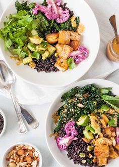Black Rice Bowls with Tofu and Veggies and a miso dressing are a vegan dish that can be switched up based the ingredients you have on hand--or to accommodate other dietary preferences. #vegan #ricebowl #grainbowl #tofu