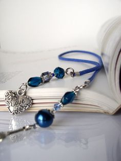 Bookmark LOVE - Handmade Book mark for Books - Silver Heart Love Charm with Blue beads, Beaded bookmark, Book thong, Gift for her