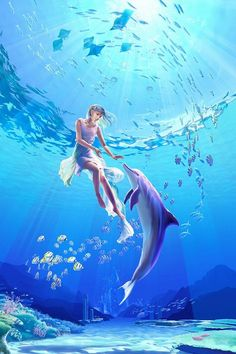Dolphins are free spirits that symbolize the rejuvenating power of water, the soul's rebirth after death, and are associated with protection and guidance. ~Luna Guitars