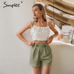 Shop & Buy Casual solid women summer shorts Middle waist cotton female shorts Office work ladies buttons shorts streetwear bottoms Online from Aalamey Streetwear Shorts, Fashion Pants, Fashion Outfits, Female Shorts, Retro Fashion, Boho Fashion, Vintage Fashion, Summer Shorts, Cotton Shorts