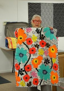 Kwiltz by Stephanie: Bright Collage Quilts on Black & White Background - Class with Freddy Moran Colorful Quilts, Small Quilts, Bright Quilts, Scrappy Quilts, Baby Quilts, Jaybird Quilts, Quilting Projects, Quilting Designs, Modern Quilt Blocks