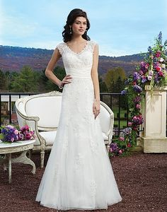 Style 3813: Beaded lace A-line dress highlighted with a V-neck neckline | Sincerity Bridal