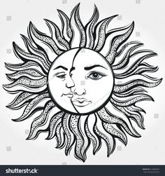 Find Bohemian Sun Moon Tattoo Designvector Illustration stock images in HD and millions of other royalty-free stock photos, illustrations and vectors in the Shutterstock collection. Sun Moon, Moon Sun Tattoo, Sun Tattoos, Body Art Tattoos, Sun And Moon Drawings, Sun Drawing, Tattoo Sol E Lua, Tattoo Sonne, Sun Tattoo Designs