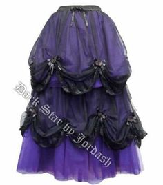 Dark Star Long Purple & Black Satin Roses Gothic Fairytale Skirt [DS/SK/7203BP] - $112.99 : Mystic Crypt, the most unique, hard to find items at ghoulishly great prices!