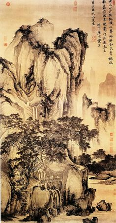 Painted by the Ming Dynasty artist Tang Yin 唐寅(伯虎) View paintings, artworks and galleries at Chinese Art Museum. Learn about Chinese history and art at China Online Museum. Chinese Landscape Painting, Chinese Painting, Landscape Art, Landscape Paintings, Landscapes, Traditional Japanese Art, Traditional Paintings, Traditional Landscape, National Palace Museum