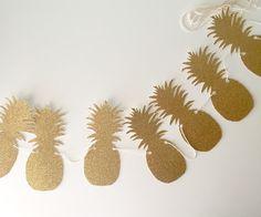 Sparkly Gold Glitter Pineapple Banner/Garland