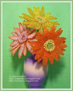 Beading for the very beginners: Gerbera free tutorial, great site