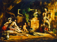 The Irish Whiskey Still, 1840 Oil On Panel Art Print by Sir David Wilkie. All prints are professionally printed, packaged, and shipped within 3 - 4 business days. Whiskey Still, Irish Whiskey, David Wilkie, Art Paintings For Sale, Thing 1, Art Database, Panel Art, Art Uk, Large Painting