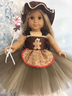 Ginger Bread ManTutu Dress Made American Girl Clothes Isabelle Grace Julie Girl Costumes, Halloween Costumes, Girl Outfits, Casual Outfits, America Girl, Ginger Bread, American Girl Clothes, Doll Stuff, 18 Inch Doll