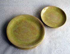 Mustard yellow slab side/salad plates, set of four. $96.00, via Etsy.