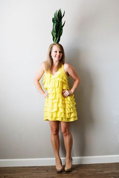 DIY Pineapple and Emoji Costume from Savers - All for the Memories Pineapple Costume Diy, Pineapple Halloween, Halloween Fruit, Halloween Diy, Halloween Camping, Halloween Stuff, Halloween Costumes For Teens Girls, Best Couples Costumes, Cute Costumes