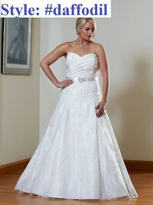 Aline Plus size Beaded sash bridal gown#daffodil