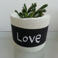 Love the chalkboard concrete planter