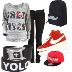 """free hugs cause yolo so wear nikes and you'll have complete swag."" by allof on Polyvore"