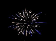Blue And White Fireworks by Cynthia Woods