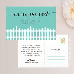 Fence Moving Announcement Postcard / Magnet / Flat Card - New Home Card, New Address Card, New Home Announcement, Change of Address Magnet New Address Cards, New House Announcement, Moving Announcements, Change Of Address, House Of Cards, I Can Do It, Return Address, Text You, Fence