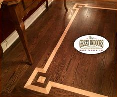wood inlay into a hardwood floor creating an interesting border