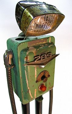 """even robot's get the blues"" found object metal art junk sculpture by ultrajunk"