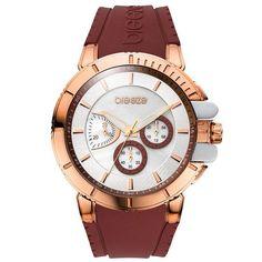 Ρολόγια : Ρολόι BREEZE 3D Shadow Chrono Rosegold Brown Rubber Strap - 110061.18 Black Rubber, Michael Kors Watch, Bordeaux, Chronograph, Rolex Watches, Breeze, Rose Gold, Jewels, Brown