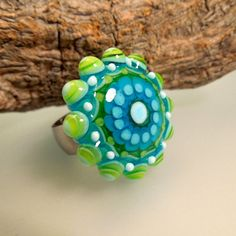 Lime and Turquoise Flower Power Glass Ring Top by by carolinedousi, $49.50